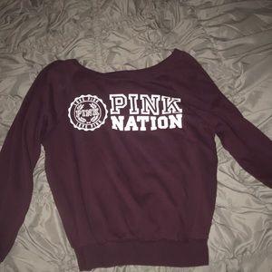PINK Victoria's Secret Tops - Pink maroon sweatshirt!